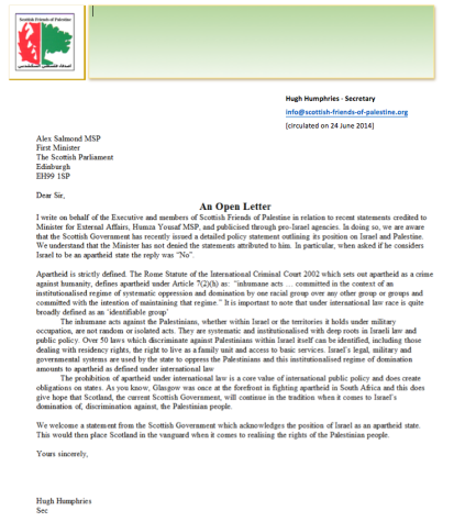 140624 SFoP Open Letter to Scottish Govt re Position on Israel